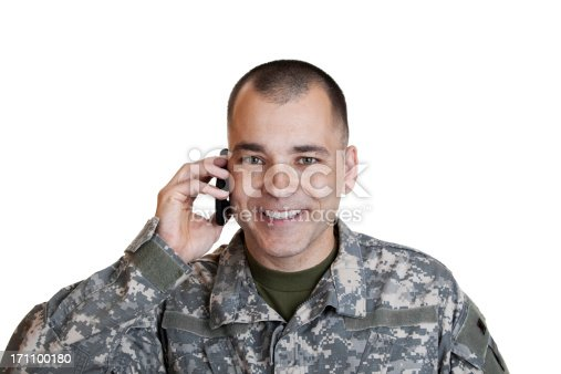 Soldier on Cell Phone.