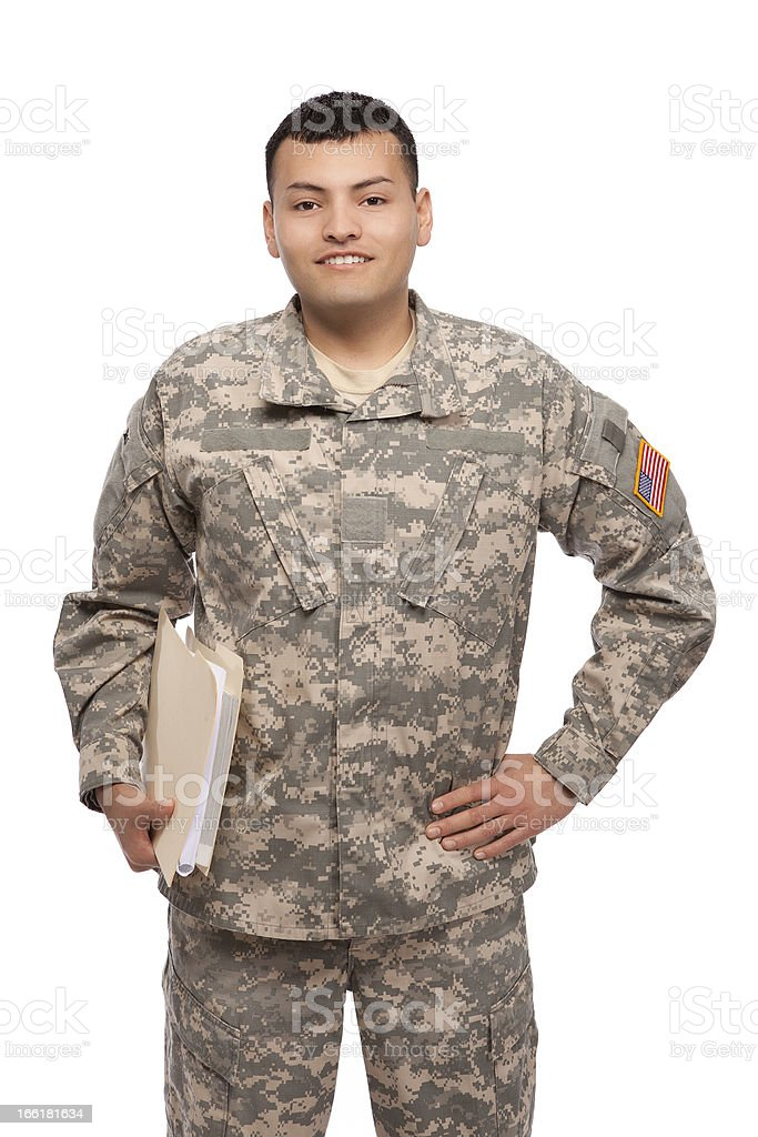 Happy soldier with files royalty-free stock photo