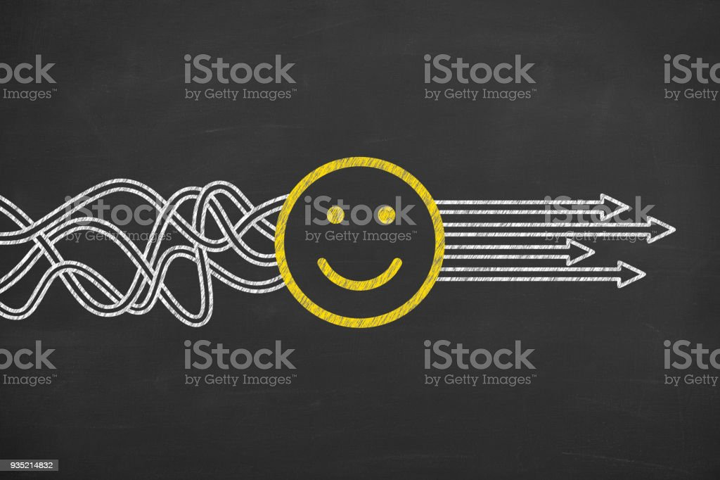 Happy Solution Concepts on Chalkboard stock photo
