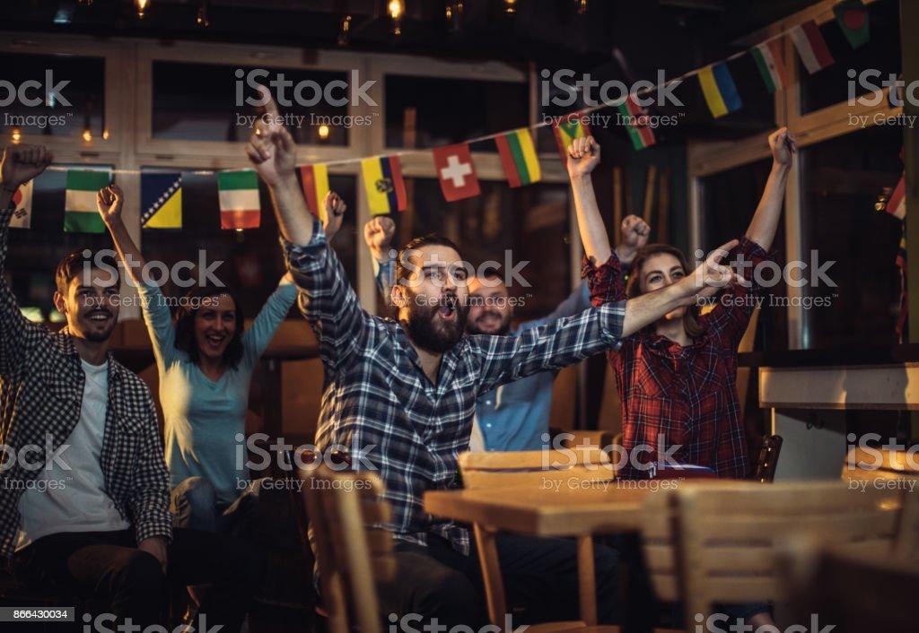 Happy sport fans stock photo
