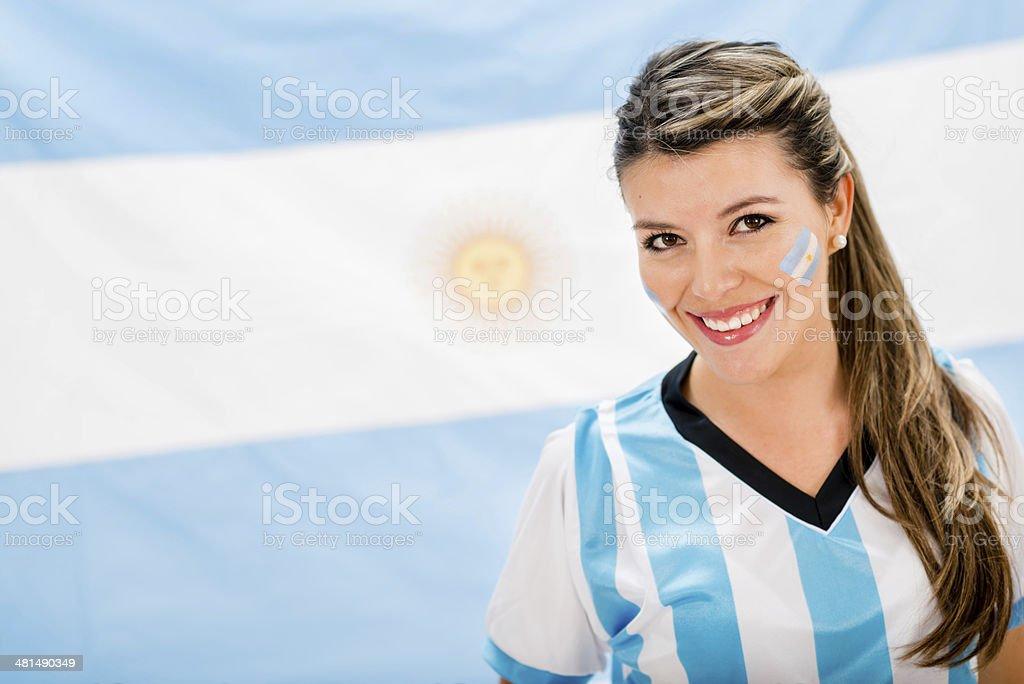 Happy sports fan stock photo