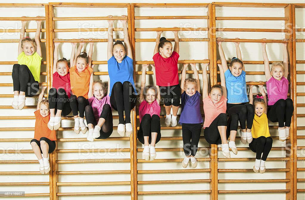 Happy sporty children in gym royalty-free stock photo