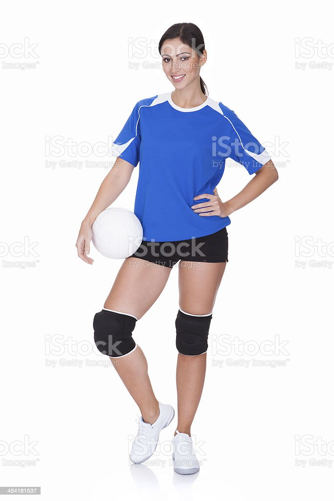 Happy Sporty Woman Holding Ball royalty-free stock photo