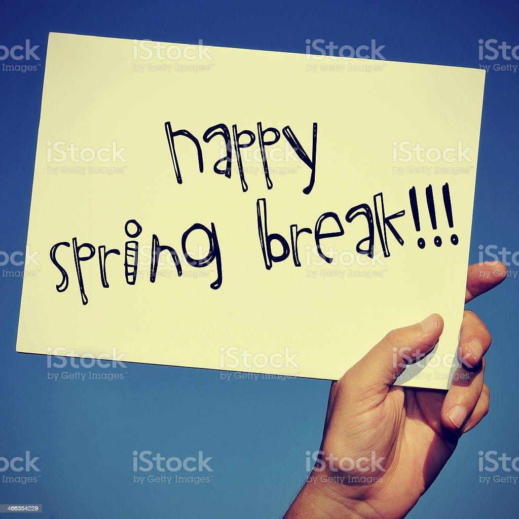 happy spring break stock photo