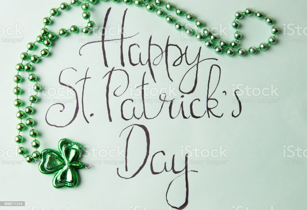 Happy St Patrick day card and green accessories stock photo