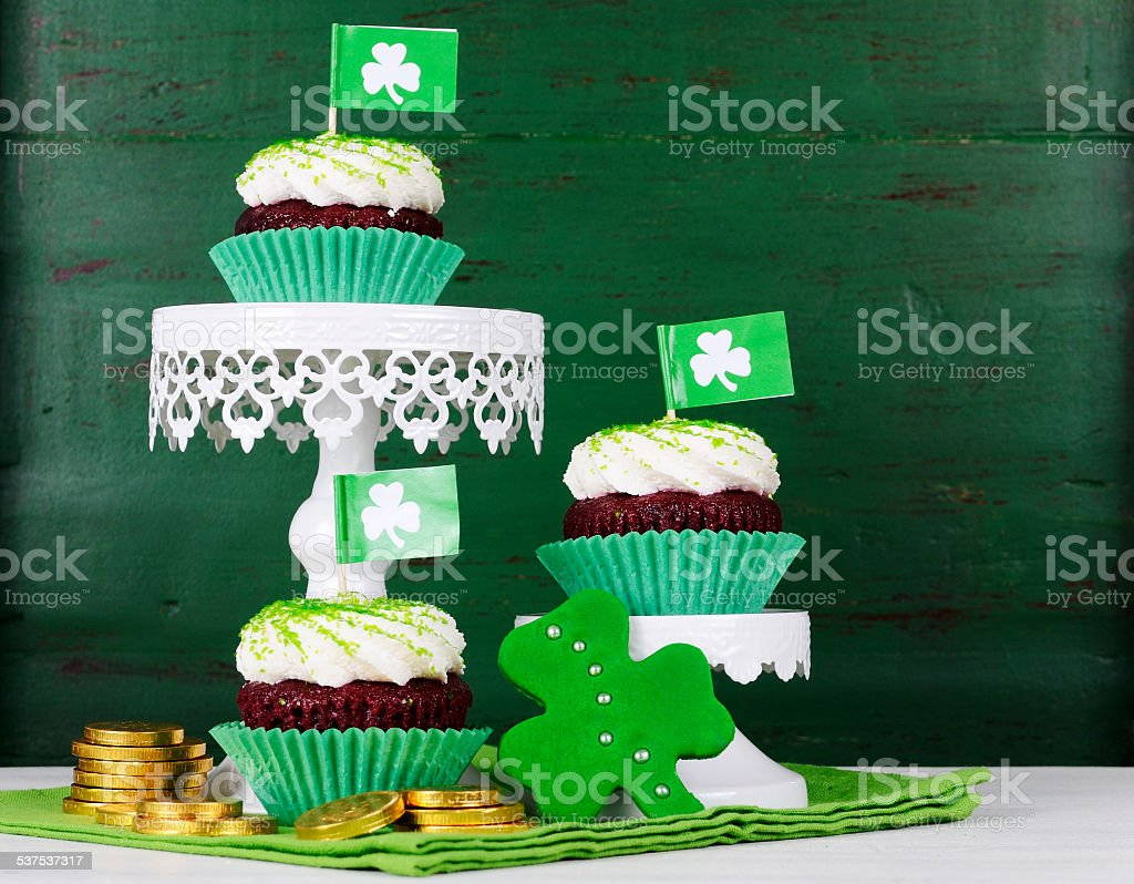 Happy St Patricks Day cupcakes stock photo