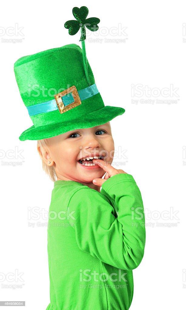 Happy St Patrick's day girl. stock photo