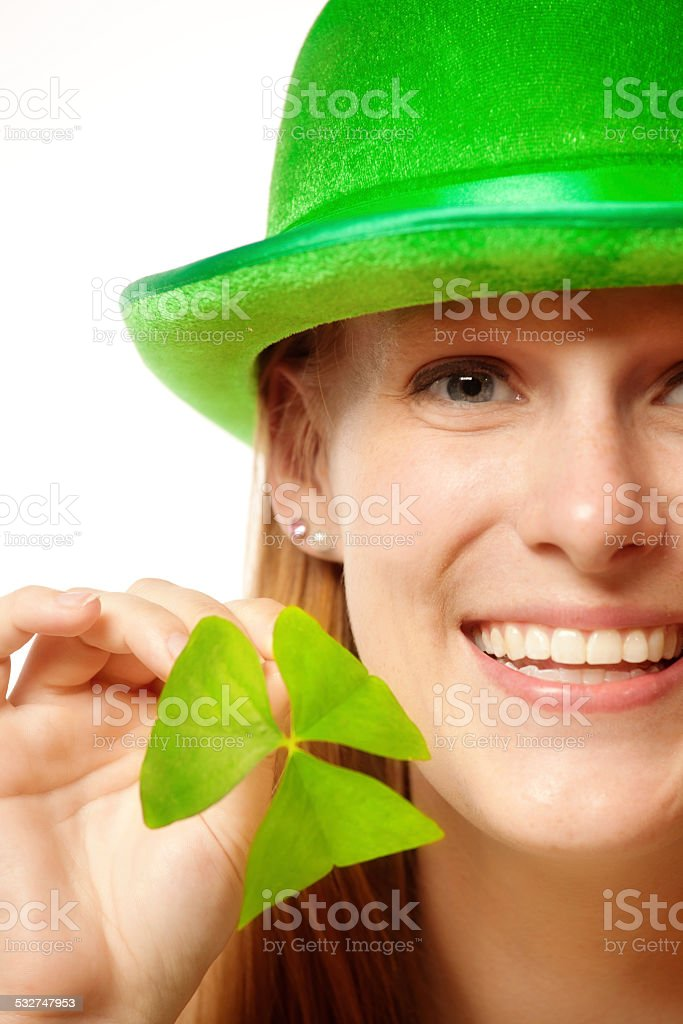 Happy St. Patrick's Day Girl with Clover stock photo
