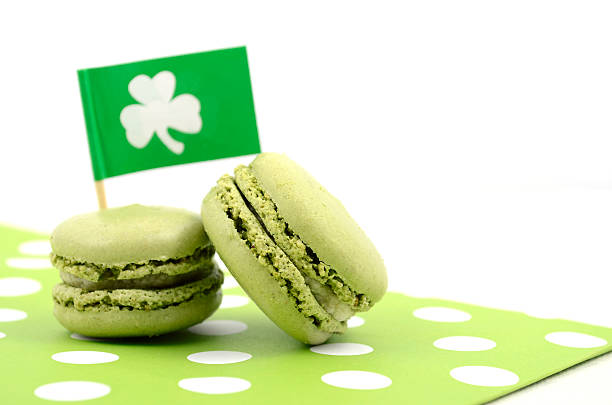 happy st patricks day green macaron cookies - st patricks day food stock photos and pictures