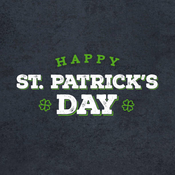 Happy St. Patrick's Day Grunge Text Over Black Chalkboard Background Happy St. Patrick's Day Grunge Text Over Black Chalkboard Background, Square st patricks day stock pictures, royalty-free photos & images