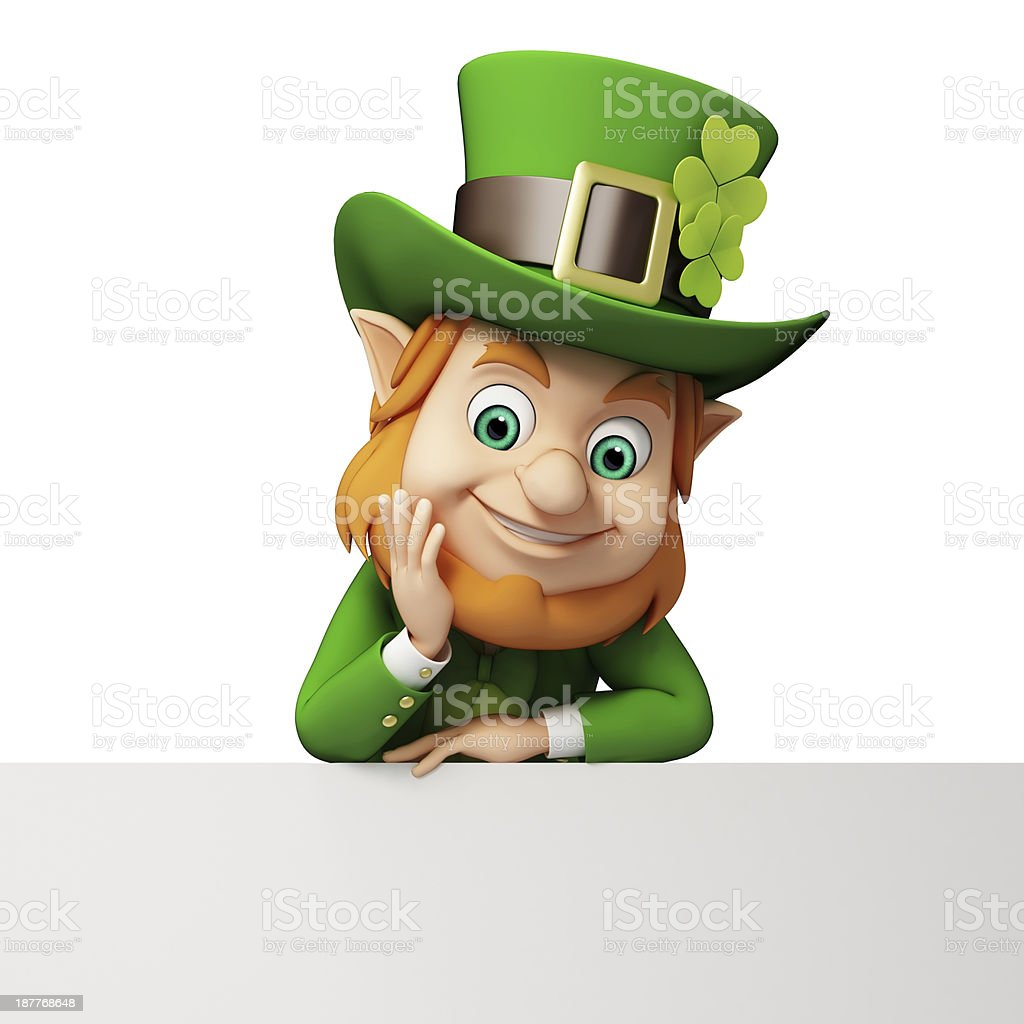 Happy St. Patrick's Day Leprechaun with sign stock photo