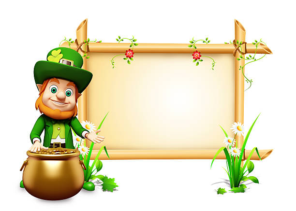 happy st. patrick's day leprechaun with sign - luck of the irish stock photos and pictures