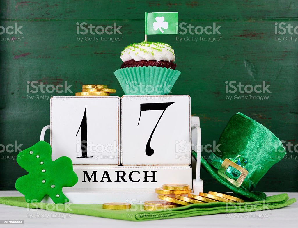 Happy St Patricks Day save the date wood calendar stock photo