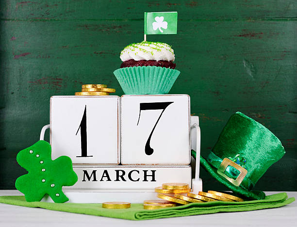 happy st patricks day save the date wood calendar - st patricks day food stock photos and pictures