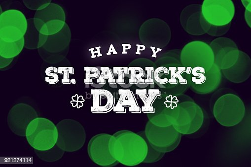 istock Happy St. Patrick's Day Text Over Green Duotone Lights 921274114