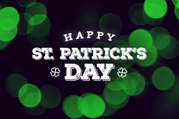 happy st. patrick's day text over green duotone lights - st patricks day stock photos and pictures