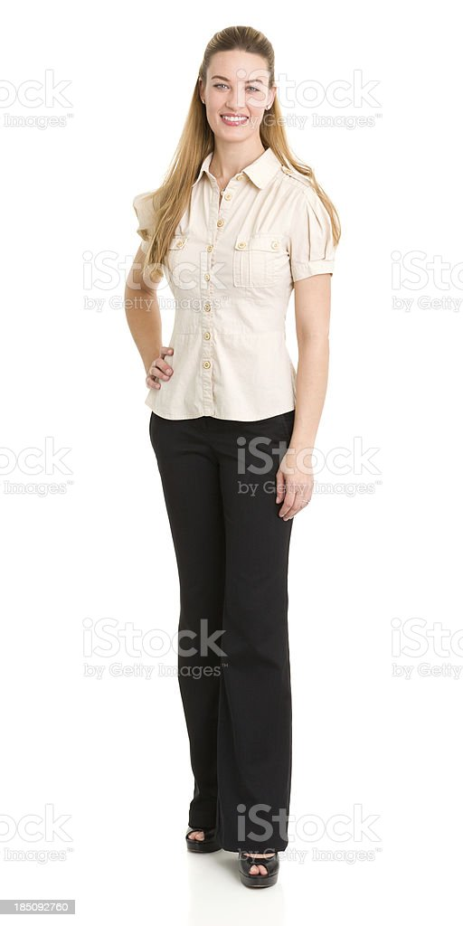Happy Standing Woman Portrait stock photo