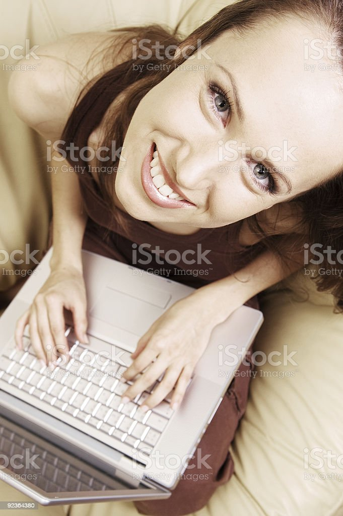 happy student at home with laptop royalty-free stock photo