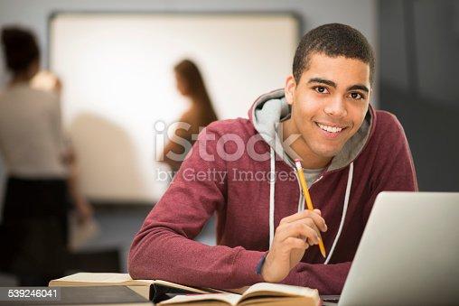 istock happy student in class 539246041