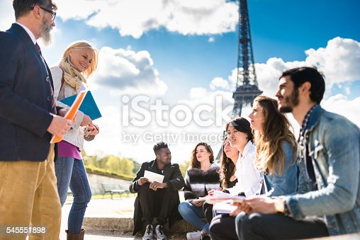 istock Happy student in paris during the lesson 545551898