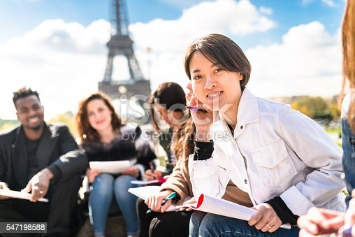 istock Happy student in paris during the lesson 547198588