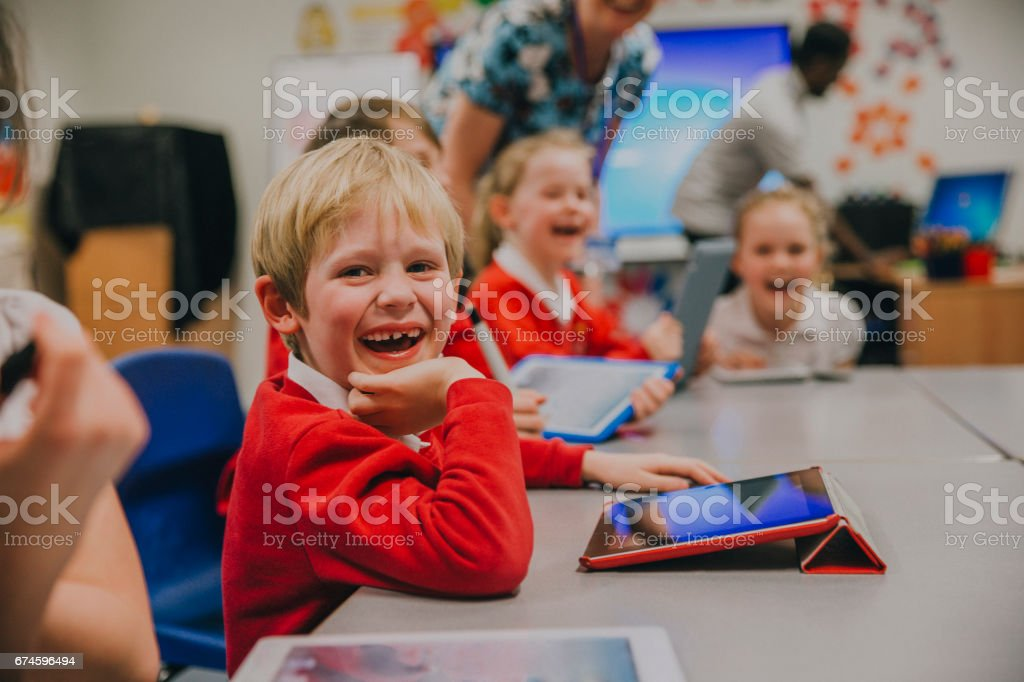 Happy Student In Technology Lesson royalty-free stock photo