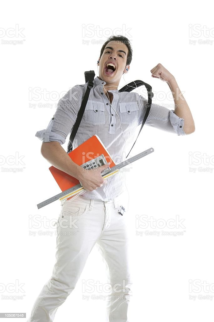 Happy student jump with college stuff in hand royalty-free stock photo
