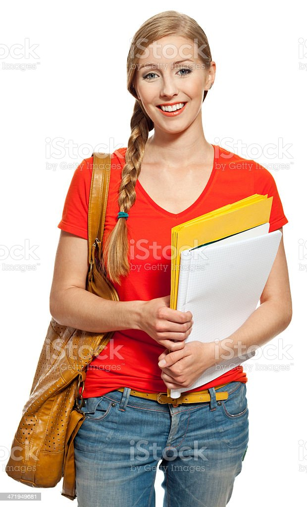 Happy student Portrait of college student standing with bag and workbooks against white background, smiling at the camera. Studio shot. 18-19 Years Stock Photo