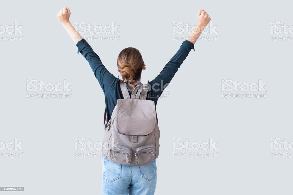 공기에 팔을 가진 행복 한 학생 스톡 사진