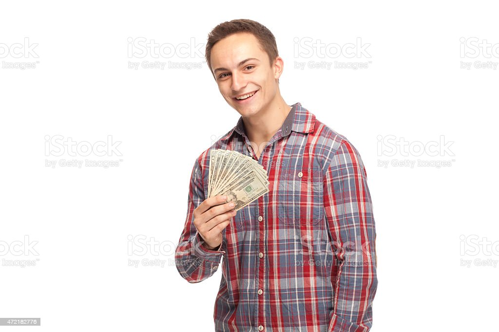Happy student with money stock photo