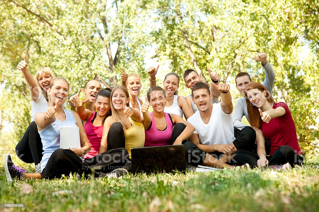 happy students in park royalty-free stock photo