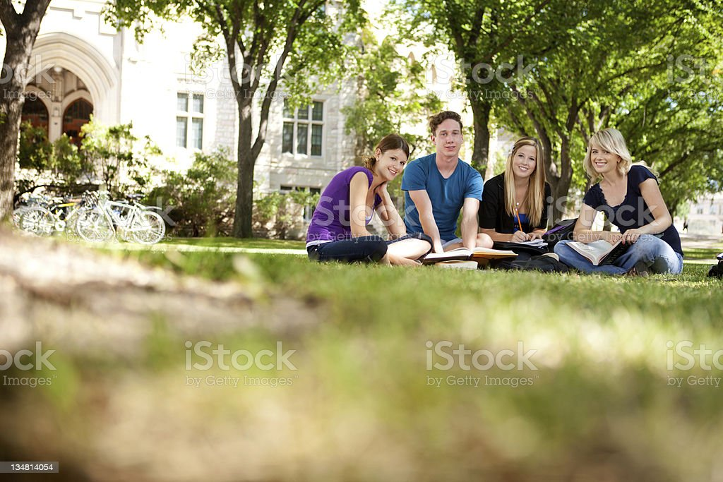 Happy Students on Campus stock photo