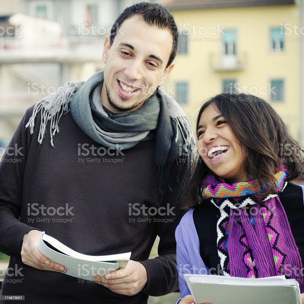 Happy Students Outdoor royalty-free stock photo