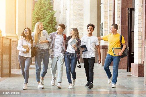 istock Happy students walking together in campus, having break 1165683016