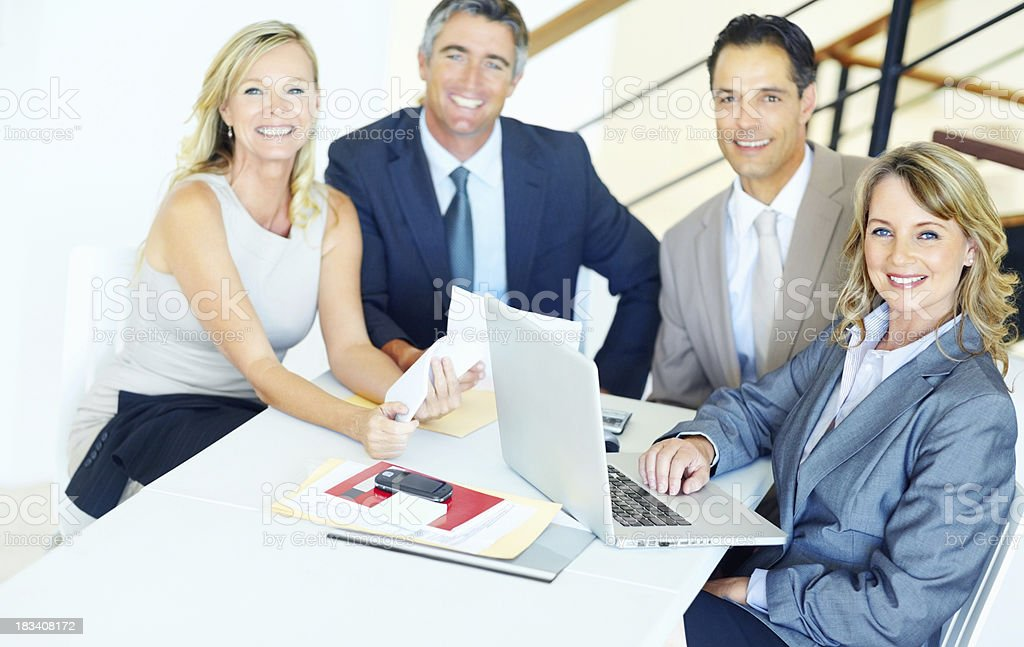 Happy successful business people in a meeting royalty-free stock photo