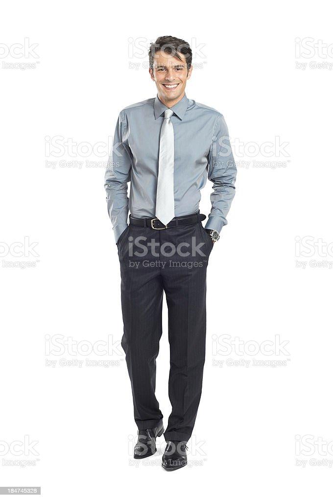 Happy Successful Businessman Walking stock photo