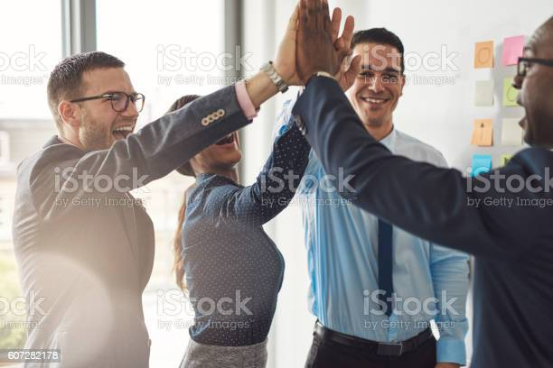 Happy Successful Multiracial Business Team Stock Photo - Download Image Now