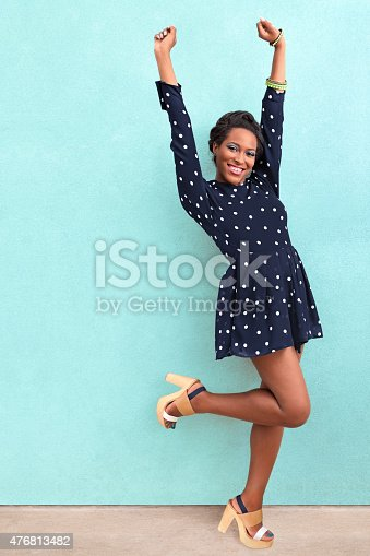 Happy summer African American woman with copy space