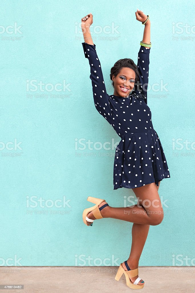 Happy Summer African American Woman stock photo