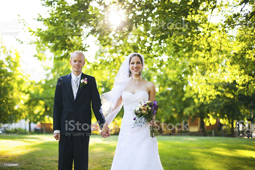 Happy Summer Park Couple Bride And Groom Wedding Gown Tux Stock ...