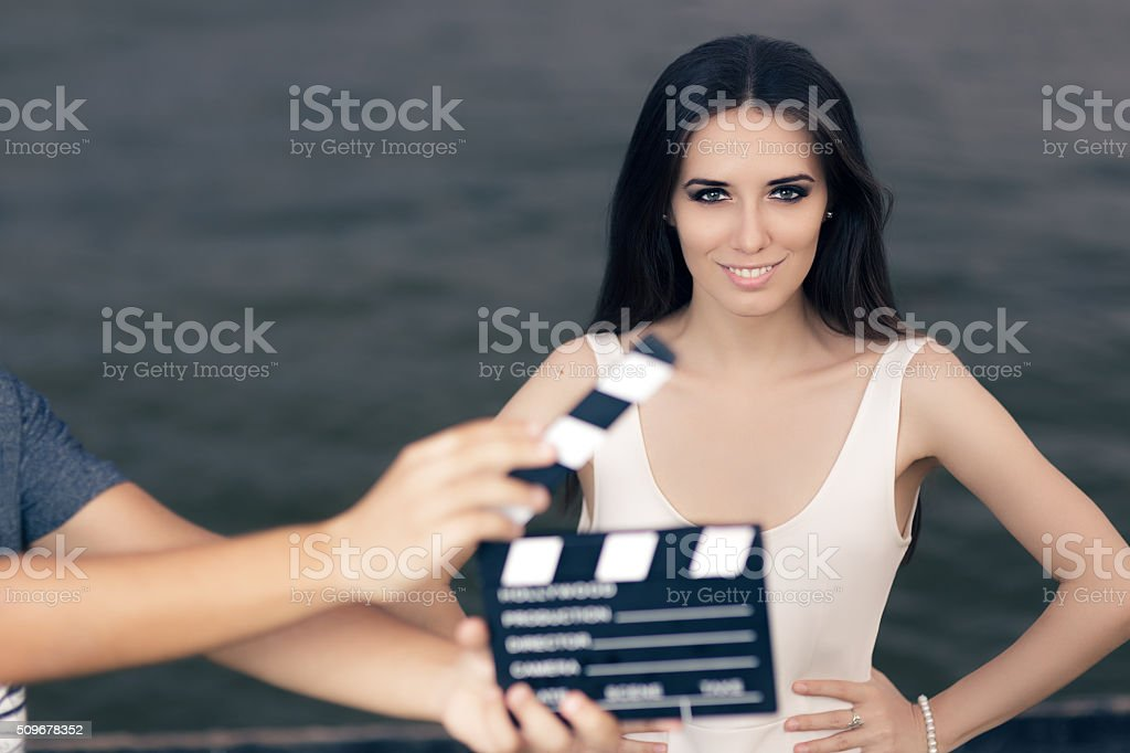 Happy Summer Woman Ready for a Shoot stock photo
