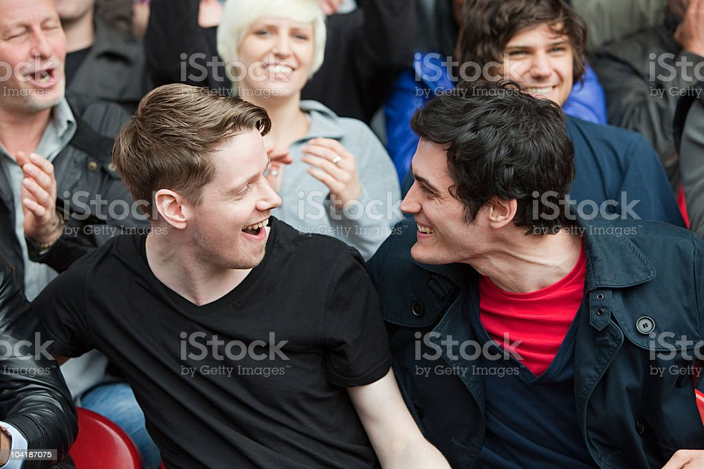 Happy supporters football match royalty-free stock photo