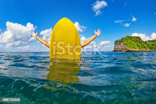 583830686 istock photo Happy surfer girl sit on yellow surfboard in ocean 586750546