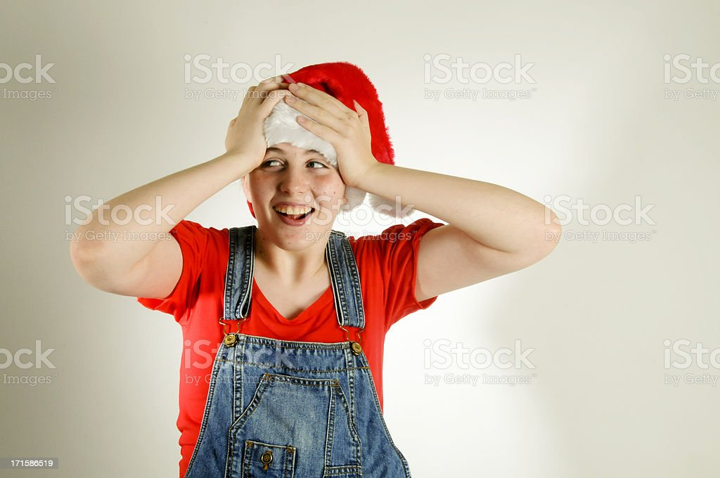 Happy Surprised Santa Girl royalty-free stock photo