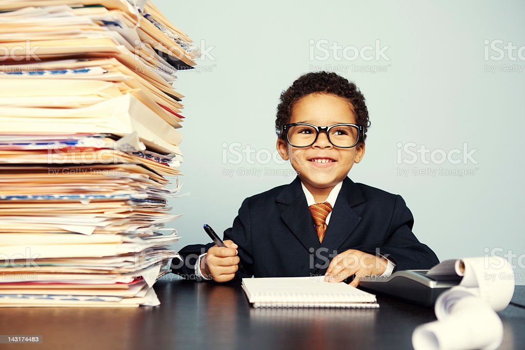 Happy Tax Kid stock photo