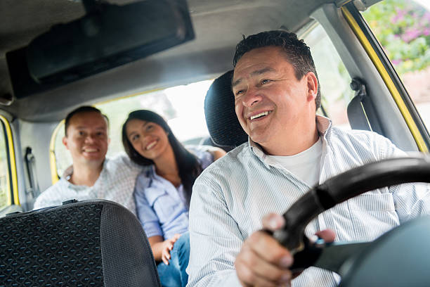 Happy taxi driver stock photo