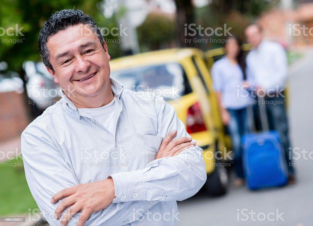Happy taxi driver stock photo