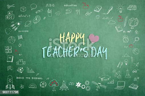 istock Happy teachers day calligraphy greeting on green school chalkboard 900111798