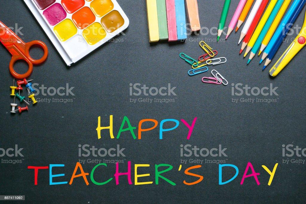 Happy Teachers Day Colorful Greetings On Blackboard Stock