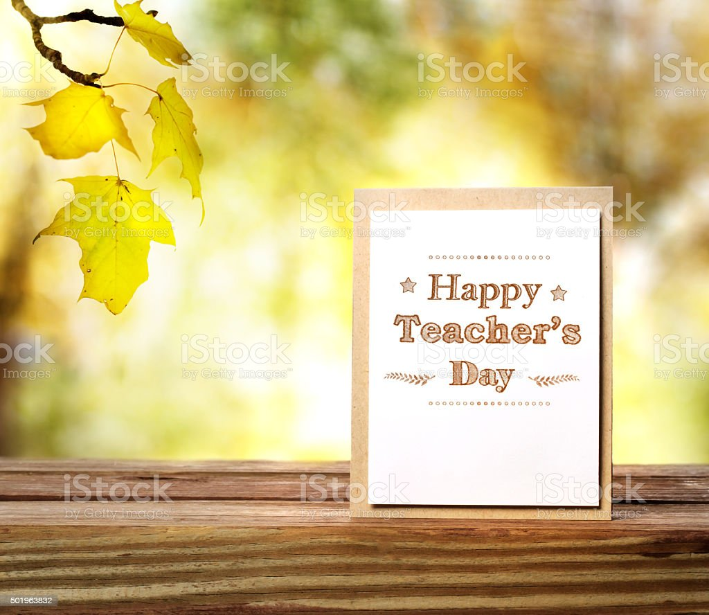 Happy Teachers Day greeting card stock photo